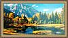 Картина Горный пейзаж 500х1000мм №321 в багетной раме