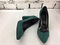 Туфли зелёная замша