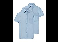 Школьные голубые рубашки с коротким рукавом для мальчиков 10, 11, 12, 13 лет Easy Iron George (Англия)