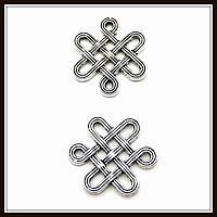 """Коннектор """"Кельтский узел"""" серебро (1,4х1,6 см) 15 шт в уп."""