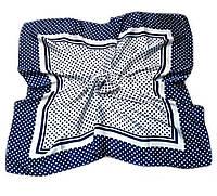 Шейный платок Камилла из вискозы и шелка, 70х70 см, сине-белый, горошек