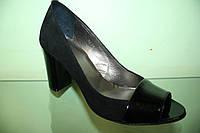 Женские кожаные туфли с открытым носком тм Safina