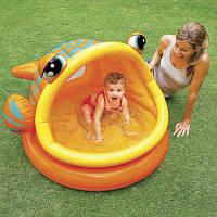Детский надувной бассейн Ленивая рыбка с навесом Intex 57109
