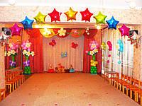 Украшение воздушными шарами на выпускной в детсаду.