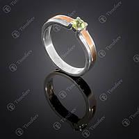 Серебряное кольцо с хризолитом. Артикул П-376