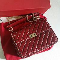Новая кожаная сумка Valentino Спайк красная, 23 см