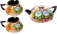 """Чайный набор """"Украинский колорит"""" 3 предмета лепка"""