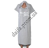 Женское трикотажное платье с капюшоном (БОЛЬШИЕ РАЗМЕРЫ) R75-3 оптом в Одессе.