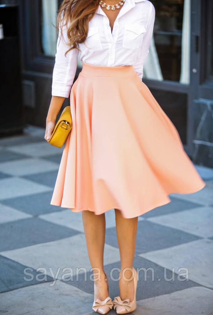 Женская юбка миди в расцветках. ф-16-0317