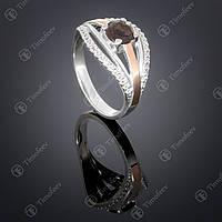 Серебряное кольцо с раухтопазом и фианитами. Артикул П-377