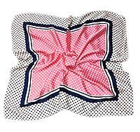 Шейный платок Камилла из вискозы и шелка, 70х70 см, розовый, горошек