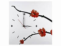 Белые часы на стену с веткой сакуры