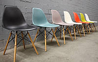 Стул Прайз (Тауэр Вуд) пластиковый на деревянных ножках высота сиденья 42 см, серый
