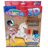 Набор для творчества 3D пазлы деревянные Лошадь (наклейки, 8 фломастеров) , 38386PTR
