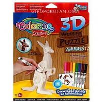 Набор для творчества 3D пазлы деревянные Кенгуру (наклейки, 8 фломастеров) , 38477PTR