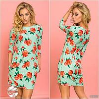 Женское весеннее платье ментолового цвета с цветочным рисунком. Модель 13099.