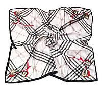 Шейный платок Камилла из вискозы и шелка, 70х70 см, белый, тюльпан