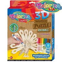Набор для творчества 3D пазлы деревянные Павлин (наклейки, 8 фломастеров) , 38454PTR