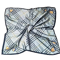 Шейный платок Камилла из вискозы и шелка, 70х70 см, серый, тюльпан