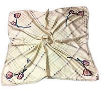 Шейный платок Камилла из вискозы и шелка, 70х70 см, бежевый, тюльпан