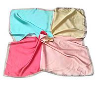 Шейный платок Камилла из вискозы и шелка, 70х70 см, бирюза/коралл, квадро