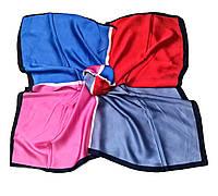 Шейный платок Камилла из вискозы и шелка, 70х70 см, синий/малиновый, квадро