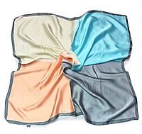 Шейный платок Камилла из вискозы и шелка, 70х70 см, бежевый/бирюза, квадро
