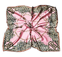Шейный платок Камилла из вискозы и шелка, 70х70 см, розовый, цепи