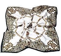 Шейный платок Камилла из вискозы и шелка, 70х70 см, молочный,  цепи