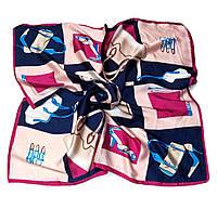 Шейный платок Камилла из вискозы и шелка, 70х70 см, персик/индиго, аксессуары