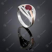 Серебряное кольцо с гранатом и фианитами. Артикул П-377