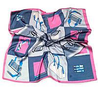 Шейный платок Камилла из вискозы и шелка, 70х70 см, розовый/джинс, аксессуары
