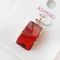 Кулон подвеска xuping розовое золото 18к янтарно-красный цирконий