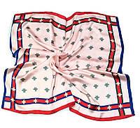 Шейный платок Камилла из вискозы и шелка, 70х70 см, розовый, мушка