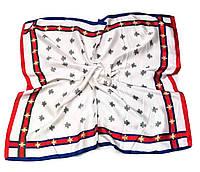 Шейный платок Камилла из вискозы и шелка, 70х70 см, белый, мушка