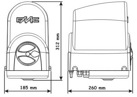 Габаритные размеры FAAC 391 KIT
