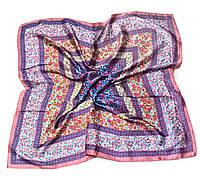 Шейный платок Камилла из вискозы и шелка, 70х70 см, сиреневый, цветы