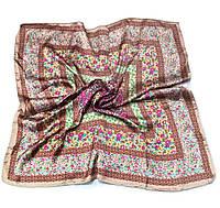 Шейный платок Камилла из вискозы и шелка, 70х70 см, коричневый, цветы