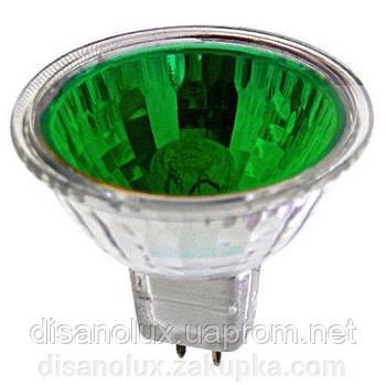 Лампа галогенная MR16 35W 12V зеленая