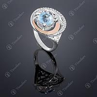 Серебряное кольцо с топазом и фианитами. Артикул П-378