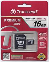 Акция! Transcend 16GB microSDHC UHS-I + SD adapter
