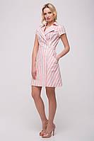 Льняное платье в полоску Line розовая
