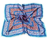 Шейный платок Камилла из вискозы и шелка, 70х70 см, голубой, цветы