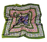 Шейный платок Камилла из вискозы и шелка, 70х70 см, оливковый, цветы