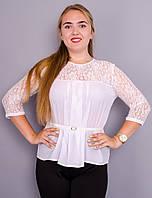 Тамара. Блуза женская большого размера. Белый., фото 1