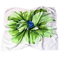 Шейный платок Камилла из вискозы и шелка, 70х70 см, оливковый, азалия
