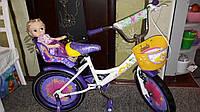 """Велосипед двухколёсный Azimut Girls 16"""" дюймов с корзинкой+сиденье для куклы, фиолетовый***"""