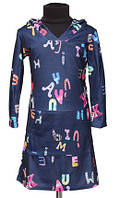 Детское платье-туника с капюшоном р 128-140см