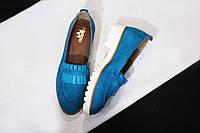 Стильные женские комфортные туфли- лоферы от TroisRois  из натурального турецкого замша 2.5, Без застежки, натур, Бирюзовый