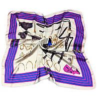 Шейный платок Камилла из вискозы и шелка, 70х70 см, молоко/сирень, лошадь